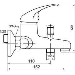 NOVASERVIS - Vaňová batéria bez príslušenstva 100 mm Metalia 55 chróm 55124/1,0