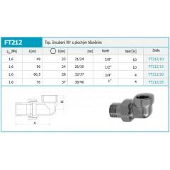 """NOVASERVIS - Topenářské šroubení 90 niklované 3/4"""" FT212/20"""