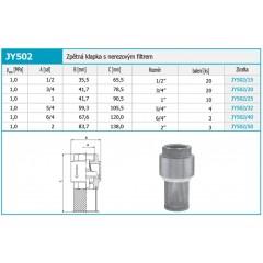 """NOVASERVIS - Zpětná klapka s nerezovým filtrem 1"""" JY502/25"""