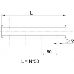 """NOVASERVIS - Tělo rozdělovače jednostranné G1"""" 10 okruhů 457/10Y"""