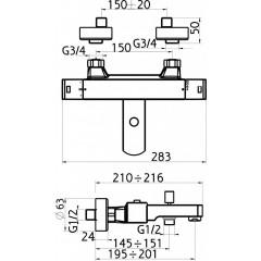 NOVASERVIS - Vaňová batéria termostatická bez príslušenstva Aquasave150 m 2820/1,0