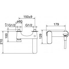 NOVASERVIS - Vanová baterie bez příslušenství 150 mm LAGHI chrom 44020/1,0