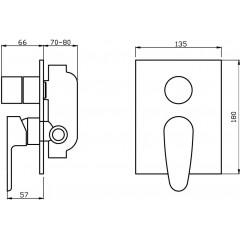 NOVASERVIS - Vaňová a sprchová podomietková batéria s prepínačom 98050R,0