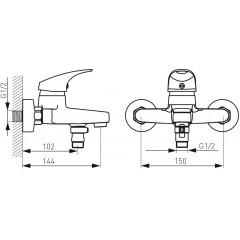 NOVASERVIS - Nástěnná vanová baterie bez příslušenství One chrom BFO1