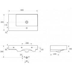 CERSANIT - Nábytkové umyvadlo INVERTO 80 s odkládací plochou vpravo K671-006
