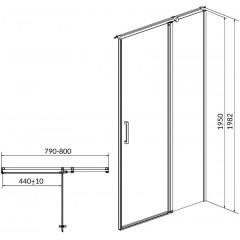 CERSANIT - Kyvné dvere s pevným poľom MODUO 80x195, pravé, číre sklo S162-004