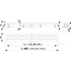Alcaplast APZ8-850M plastový žlab s roštem kout min. 900mm Simple, vlnka (APZ8-850M)
