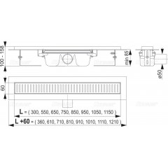 Alcaplast APZ1-750 podlahový žlab výška 85mm kout min. 800mm (APZ1-750)