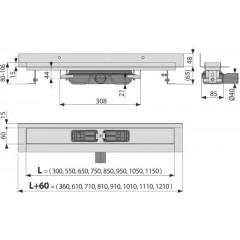 Alcaplast APZ116-1050 LOW Podlahový žlab s okrajem pro plný rošt, pevný límec ke stěně kout min. 1100mm APZ116-1050