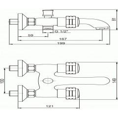 NOVASERVIS - Vanová baterie bez příslušenství 100 mm Retro I chrom 99024/1,0