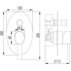 NOVASERVIS - Vanová sprchová baterie s přepínačem OVAL chrom 32050R,0