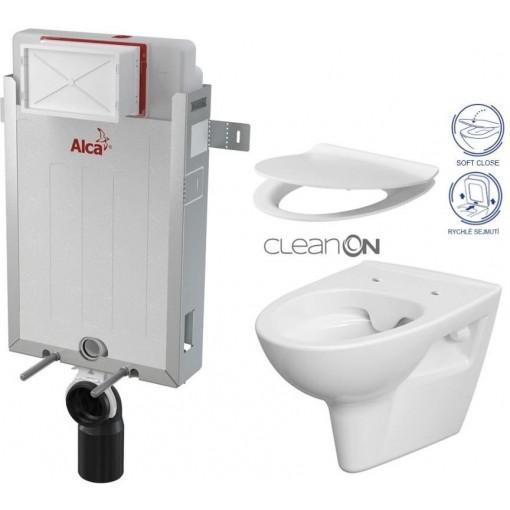 ALCAPLAST Renovmodul - predstenový inštalačný systém bez tlačidla + WC CERSANIT CLEANON PARVA + SEDADLO AM115/1000 X PA2