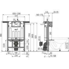 Alcaplast modul do jádra AM102/850 pro suchou instalaci výška 0,85m AM102/850