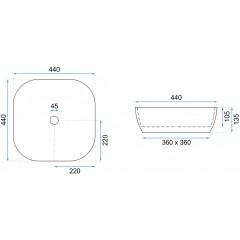 REA - Umývadlo na dosku Elena 44x44 biele (REA-U0798)
