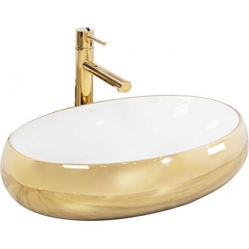 REA - Umývadlo na dosku Melania White / Gold - Zlatá / biela (REA-U1050)
