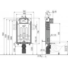 Alcaplast modul do zdi AM115/1000 výška 1m + vhazovač P169 - AM115/1000 AM115/1000