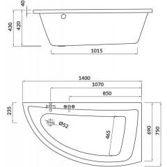 CERSANIT - VAŇA NANO PRAVÁ 140X75 cm S301-061