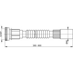 """Alcaplast Flexi připojení 6/4""""×40 kov A790"""