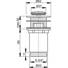 ALCAPLAST - Sifonová vpusť 5/4 click/clack chrom kov malá zátka Alca A391 A391