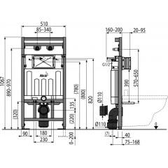 Alcaplast Montážní rám s nádržkou pro výlevku s odpadem DN90/110 A108F/1100 A108F/1100