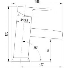 AQUALINE - CANTINO stojánková umyvadlová baterie se žlábkem, chrom 1126-06