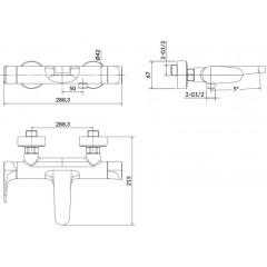 CERSANIT - Nástenná vaňová batéria INVERTO, páková, chróm + čierna páčka S951-312