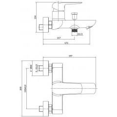 CERSANIT - Nástenná vaňová batéria CITY, páková, chróm S951-344