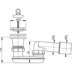 ALCAPLAST Sifón sprchové vaničky DN50 kompletný A461-50 A461-50