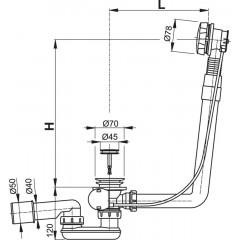 Alcaplast Sifón vaňový automat komplet kov dĺžka 80 cm A550K-80
