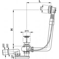Alcaplast Sifón vaňový automat komplet kov dĺžka 80 cm A550KM-80