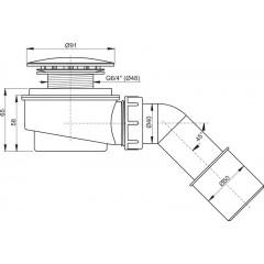 Alcaplast sifon pro sprchovéí vaničky 60mm SNÍŽENÝ v.65mm+koleno, chrom, 52l/min, Alca Plast, i pro keramické vaničky, nízký A471CR-60 A471CR-60