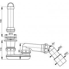 Sifon sprch 50 A462 DN50 odtoková souprava se zápach.uzáv. a kolenem ALCAPLAST plast A462-50 A462-50