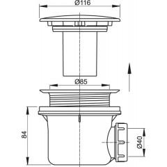 Sifon vaničkový kov LUX ALCAPLAST A49K-mat A49K MAT
