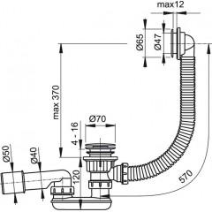 Sifon vanový click/clack plast - chrom ALCAPLAST A505CRM A505CRM