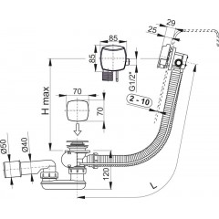 ALCAPLAST Sifon vanový napouštěcí 100cm chrom/plast A564CRM2-100, zátka d70mm hranatá A564CRM2-100