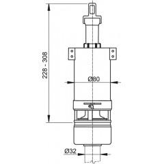 ALCAPLAST - Vypouštěcí ventil A-03 do vysoko položenou nádrž ALCA (komplet) A03