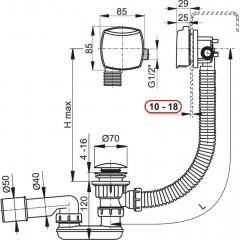 Sifon vanový napouštěcí CLICK CLACK kov-chrom 80cm pro silnostěnné vany, zátka d70mm kulatá ALCAPLAST A509KM-80 A509KM-80
