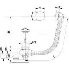 ALCAPLAST - Sifon vanový automat 100cm chrom-plast A51CRM-100 kompletní, d70mm zátka Alca Plast A51CRM-100