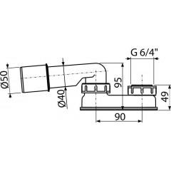 ALCAPLAST Sifon 6/4-DN50/40 U spodek, vanový/sprchový Zápachová uzávěra A533-DN50 A533-DN50