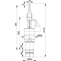 ALCAPLAST - Vypouštěcí ventil A-06E Ecology 2 L/4 L pro WC-moduly (A100,101,102) mimo výšky 850 Alca A06E