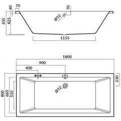 CERSANIT - Akrylátová vaňa INTRO 180x80 cm S301-222