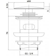 CERSANIT - Kovová zátka klik-klak pro umyvadla s přepadem, nikl S951-281