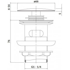 CERSANIT - Kovová zátka klik-klak pro umyvadla s přepadem, černá S951-279