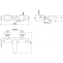 CERSANIT - Nástenná vaňová batéria INVERTO, páková, zlatá + úchyt S951-284