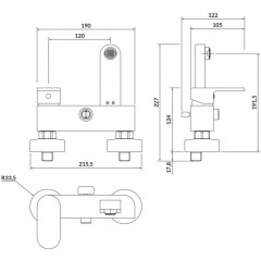 CERSANIT - Nástenná vaňová batéria CREA, páková, nikel S951-309