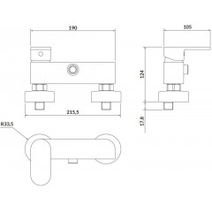 CERSANIT - Nástenná sprchová batéria CREA, páková, čierna S951-321