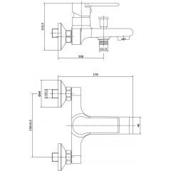 CERSANIT - Nástenná vaňová batéria BRASCO, páková, chróm S951-229