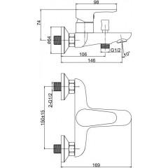 CERSANIT - Nástenná vaňová batéria CERSANIA, páková, chróm S951-235