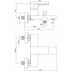 CERSANIT - Nástenná vaňová batéria SUARO, páková, chróm S951-240