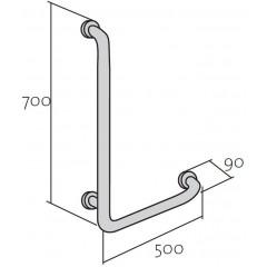 CERSANIT - Rukojeť 50x70 - vertikální/ vodorovná, pravá pro WC a sprchové kouty (K97-031)